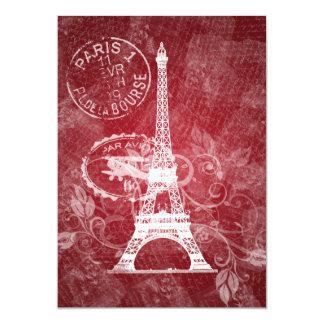 Rojo romántico de París de la ducha nupcial Invitación 12,7 X 17,8 Cm