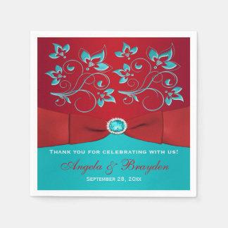 Rojo, servilletas de papel florales de la turquesa