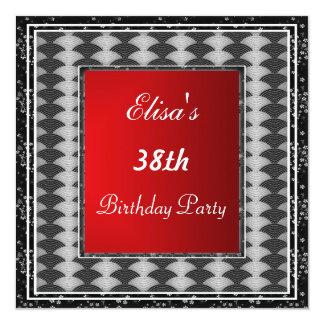 Rojo simple de la invitación de la fiesta de invitación 13,3 cm x 13,3cm