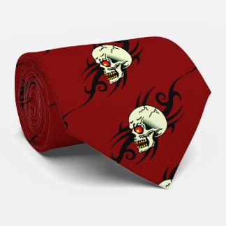 Rojo tribal del tatuaje del cráneo malvado corbata personalizada