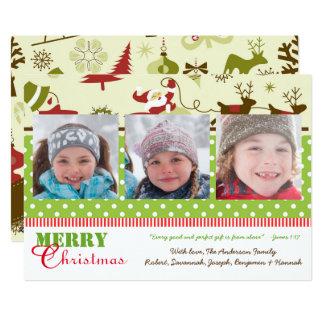 Rojo, verde, fotos retras de Brown 3 - tarjeta de Invitación 12,7 X 17,8 Cm