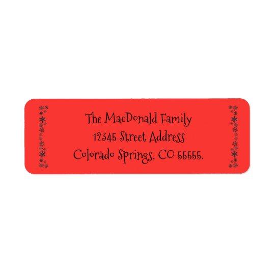 Rojo vertical de los copos de nieve - etiqueta del etiqueta de remite