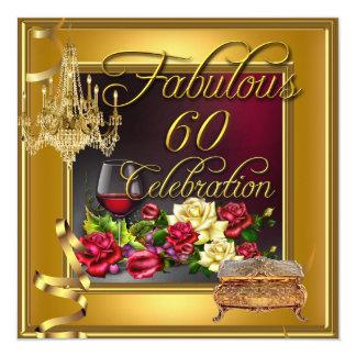 Rojo vino rosado 60 del oro fabuloso de la invitación 13,3 cm x 13,3cm