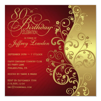 Rojo y 80.a invitación de la fiesta de cumpleaños invitación 13,3 cm x 13,3cm