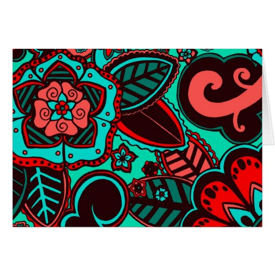 Rojo y aguamarina florales tarjeta pequeña