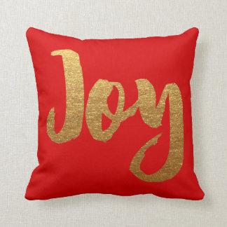 Rojo y alegría de la almohada del navidad del oro