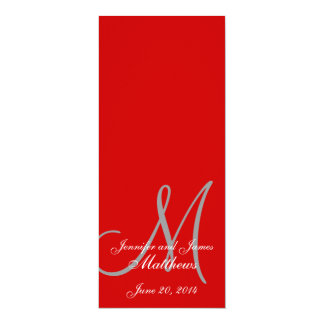 Rojo y blanco del monograma del programa de la invitación 10,1 x 23,5 cm