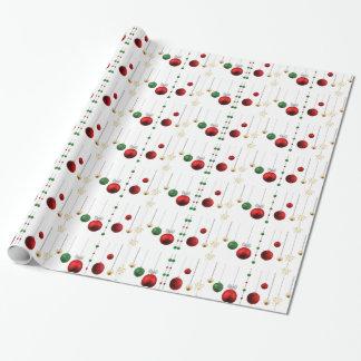 Rojo y blanco festivos del oro de los ornamentos papel de regalo