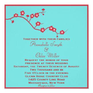Rojo y boda lesbiano floral de la turquesa invitación 13,3 cm x 13,3cm
