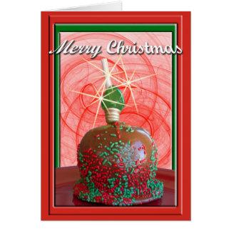 Rojo y caramelo Apple asperjado verde Felicitaciones