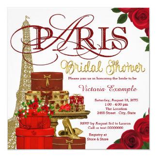 Rojo y ducha nupcial de París del oro Invitación 13,3 Cm X 13,3cm