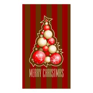 Rojo y etiqueta del regalo del árbol de navidad de tarjetas de visita
