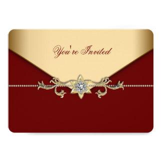 Rojo y fiesta corporativo del oro invitación 12,7 x 17,8 cm