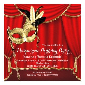 Rojo y fiesta de cumpleaños de la mascarada del invitación 13,3 cm x 13,3cm