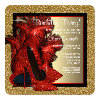 Rojo y fiesta de cumpleaños de los tacones altos invitación 13,3 cm x 13,3cm