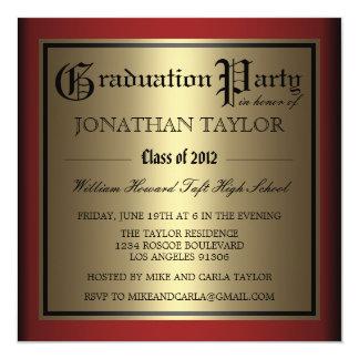 Rojo y graduación del oro invitación 13,3 cm x 13,3cm