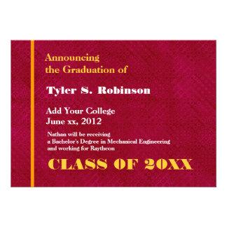 Rojo y graduación moderna de la universidad del or invitaciones personales