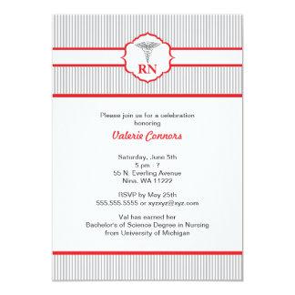 Rojo y gris de la graduación del RN BSN LPN del Invitación 12,7 X 17,8 Cm