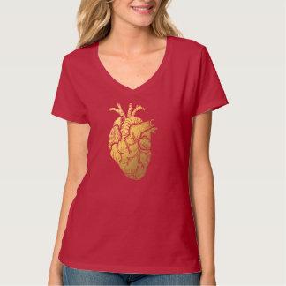 Rojo y la camiseta con cuello de pico de las