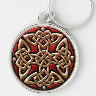 Rojo y llavero céltico del nudo del escudo del oro