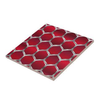 Rojo y modelo de los octágonos de la plata azulejo cuadrado pequeño
