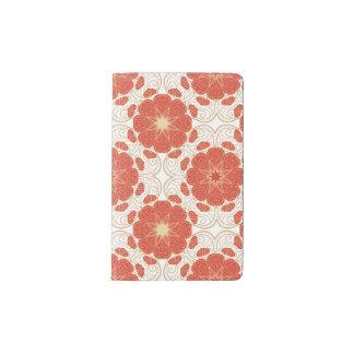 Rojo y modelo floral del cordón del oro cuaderno de bolsillo moleskine