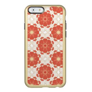 Rojo y modelo floral del cordón del oro funda para iPhone 6 plus incipio feather shine