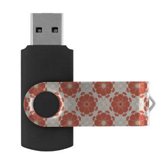 Rojo y modelo floral del cordón del oro memoria USB
