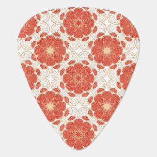 Rojo y modelo floral del cordón del oro púa de guitarra