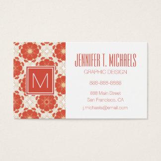 Rojo y modelo floral del cordón del oro tarjeta de negocios