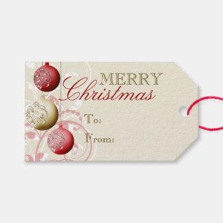 Rojo y navidad festivo del oro etiquetas para regalos