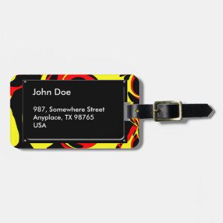 Rojo y negro amarillos etiquetas para maletas