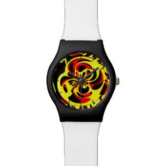 Rojo y negro amarillos relojes de mano