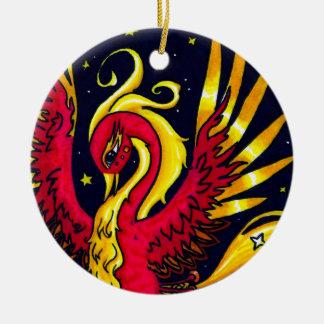 Rojo y oro que vuelan Phoenix Adorno Navideño Redondo De Cerámica