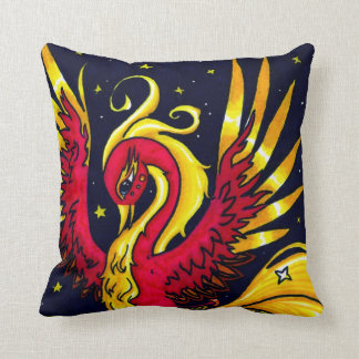Rojo y oro que vuelan Phoenix Cojín