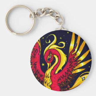 Rojo y oro que vuelan Phoenix Llavero Redondo Tipo Chapa