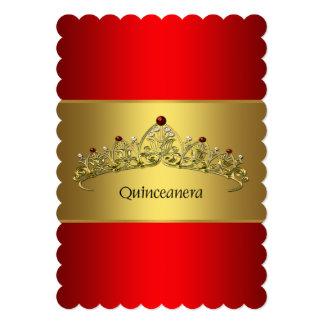 Rojo y oro Quinceanera Invitación 12,7 X 17,8 Cm