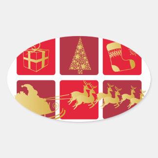 Rojo y pegatina del navidad del oro