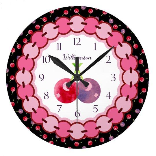Rojo y púrpura de cerezas de la acuarela reloj redondo grande