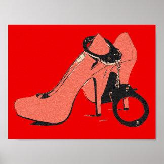 Rojo y rizado, talones y puños, ilustraciones póster