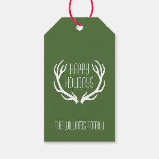 Rojo y rústico personalizada verde buenas fiestas etiquetas para regalos