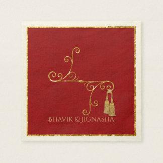 Rojo y servilleta india del boda de la borla del servilleta desechable