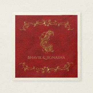Rojo y servilleta india del boda del pavo real del servilleta de papel