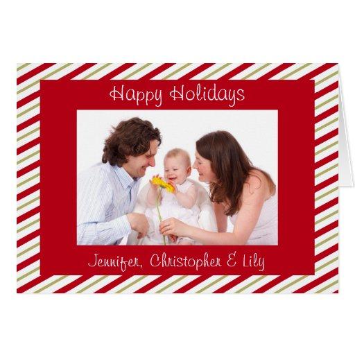 Rojo y tarjeta de Navidad moderna de encargo de la