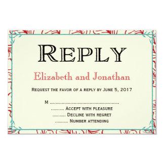 Rojo y tarjeta rústica de RSVP de la contestación