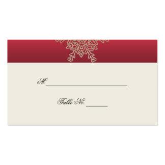 Rojo y tarjetas del lugar del boda del copo de nie plantilla de tarjeta de negocio