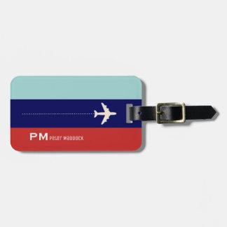 rojo y viaje del avión de 2 rayas azules de los etiqueta para maletas