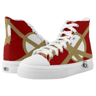 Rojo y zapatos impresos Hola-Top porta de Zipz del