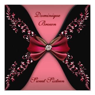 Rojos y negros elegantes invitan con el arco del invitación 13,3 cm x 13,3cm