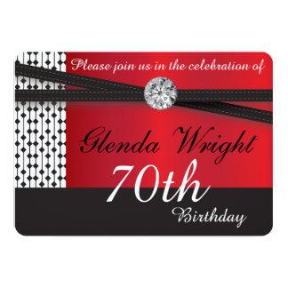 Rojos y negros elegantes invitan invitación 12,7 x 17,8 cm
